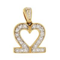 Vintage Underlined Diamond Heart 14K Gold Charm