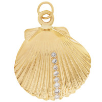 Vintage Diamond Seashell 14K Gold Charm