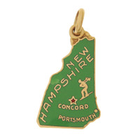 Vintage Enameled Map of New Hampshire  14K Gold Charm