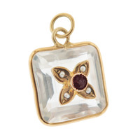 Vintage Rock Crystal Fob with Ruby and Seed Pearls 14K Gold Charm