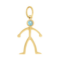 Little Boy with Blue Topaz 14K Gold Charm