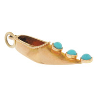 Vintage Turkish Slipper with Turquoise 18K Gold Charm