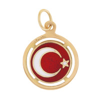 Vintage Turkish Seal with Star and Crescent 18k Charm