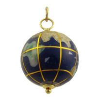Vintage Lapis Spinning  Globe 14k Gold Charm