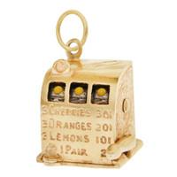 Vintage Slot Machine 14k Gold Charm