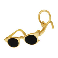 Black Enameled Sunglasses 14K Gold Charm