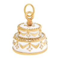 """Just Married"" Wedding Cake 14K Gold Charm"