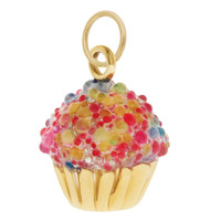 Colorful Cupcake 14K Gold Charm