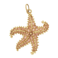 Large Pink Enameled Starfish 14k Gold Charm