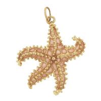 Large Pink Enameled Starfish 14K Gold Charm