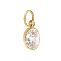Single Birthstone - April CZ 14K Gold Charm
