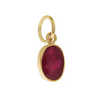 Single Birthstone  - July Ruby 14K Gold Charm