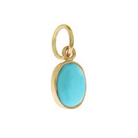Single Birthstone - December Turquoise 14K Gold Charm