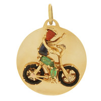 Vintage Jeweled Bicycle Rider 14k Gold Charm