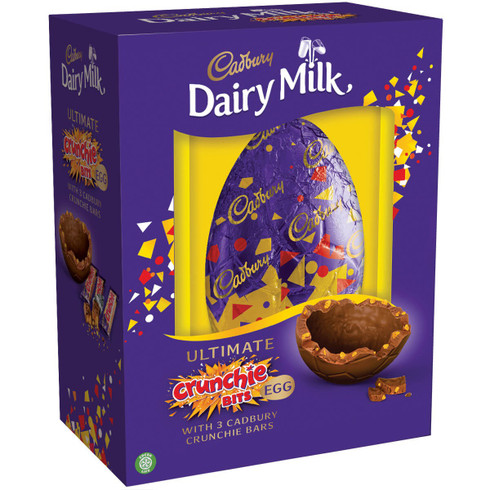 NEW for 2019!! A Giant Cadbury Dairy Milk Crunchie Egg with three Crunchie bars.The Ultimate luxury egg