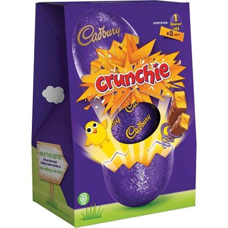 Cadbury Crunchie Easter Egg, Contains a smooth hollow milk chocolate egg and 2 Cadbury Crunchie bars.
