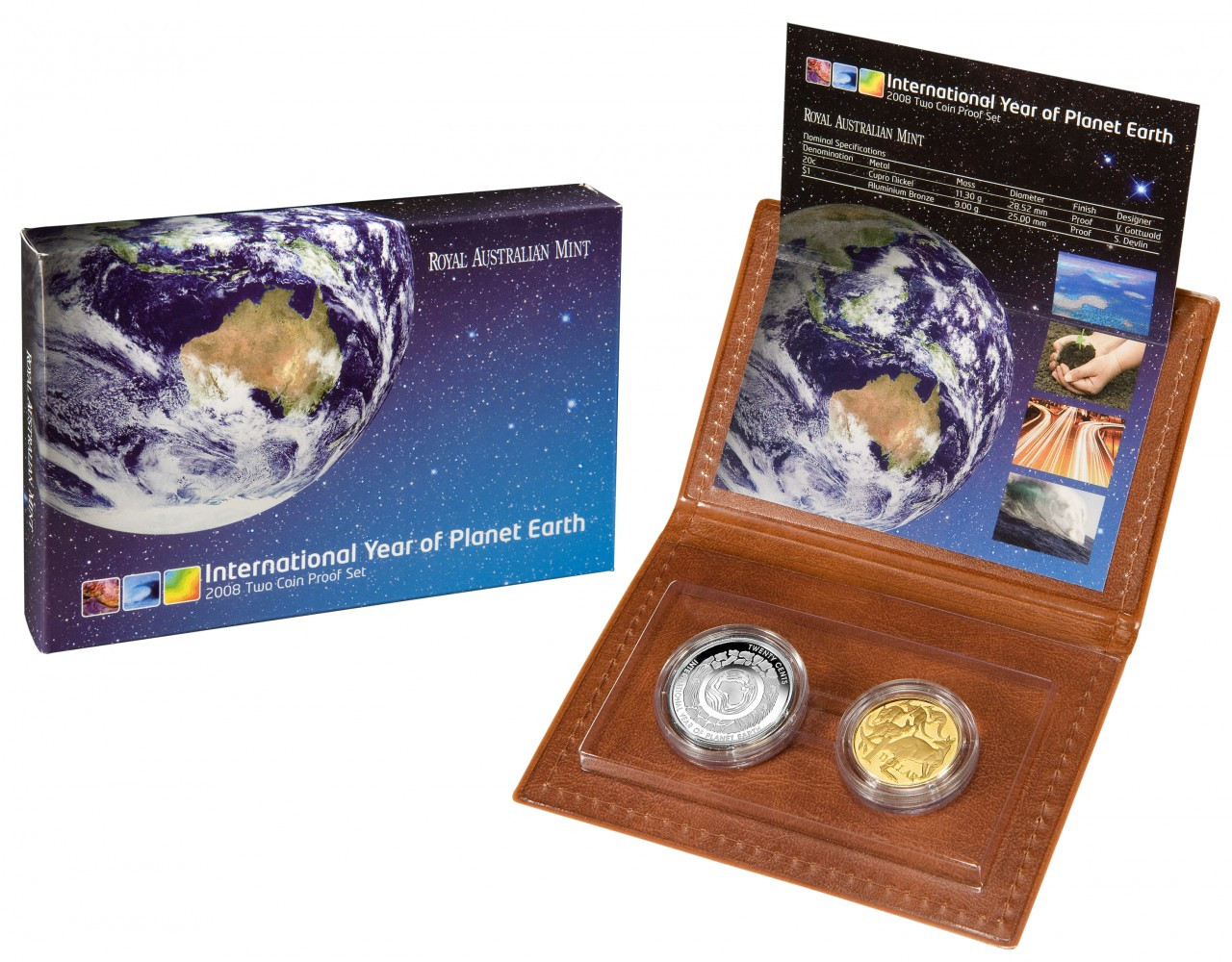 2008 AUSTRALIA MINT SET PLANET EARTH WORLD MONEY COIN FAIR BERLIN