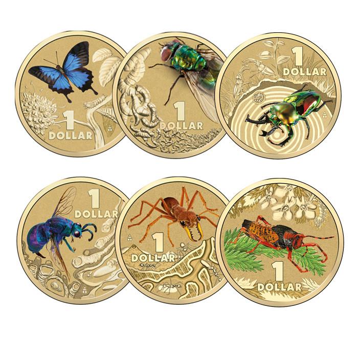 Grasshopper Colour Printed $1 Coin 2014 Australia Bright Bugs Series