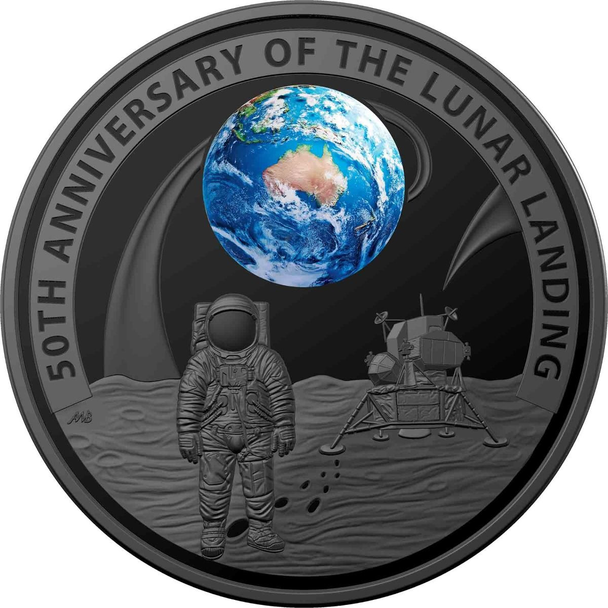 50th Anniversary of the Moon Landing 2019 $5 Nickel-Plated Domed Silver  Proof Coin
