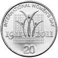 2011 International Women's Day single 20c UNC  coin  from coin roll