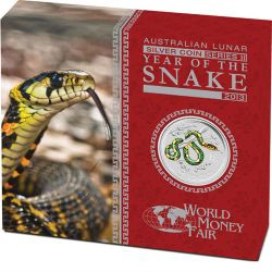 $1 Lunar II 1 oz Silver Year of the Snake Australia 2013 Proof coloured edition