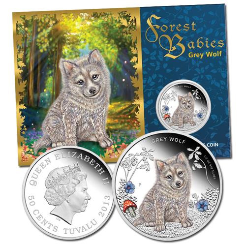 2013 TUVALA FOREST BABIES GREY WOLF 1//2OZ SILVER PROOF COIN PERTH MINT