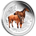 2014 $1 Lunar Horse 1oz Colour Silver Proof