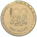 2014 $1 '100 Years of Anzac - The Spirit Lives' circulating coin.