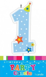 1st Birthday - Blue Dots Party Candle