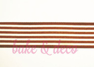 Brown Stripe Ribbon 25mm