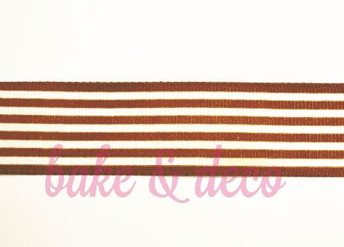 Brown Stripe Ribbon 25mm