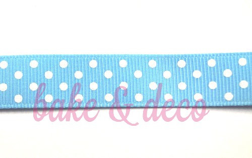 Baby Blue Polkadot Ribbon 15mm