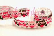 Pink Owl Ribbon 15mm