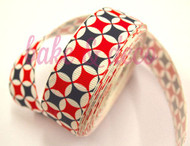 Red, Grey & White Pattern Ribbon 25mm