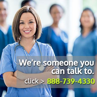 Photo of nurse and staff welcoming you to call NewLeaf at 888-739-4330 for personal assistance