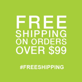 Square, bright green banner promoting Free Shipping for Order Amounts Over 99 dollars.