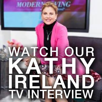 Square photo of personality Kathy Ireland on the set of her show, promoting to watch her television interview with NewLeaf's owner, Zane Lewis.