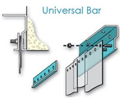 Metal Universal Mount Strip Curtain Bracket, with threaded posts