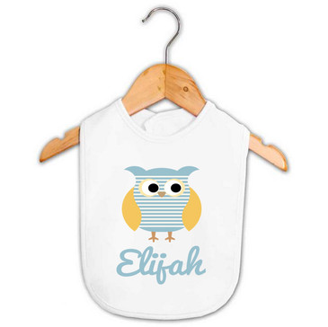Blue striped owl baby name bib - Elijah