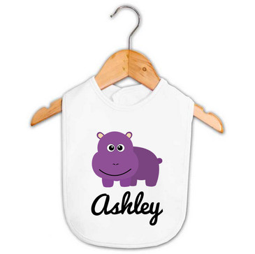 Personalised Purple Hippo Baby Bib