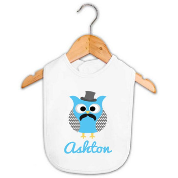 Personalised Top Hat & Moustache Owl Bib