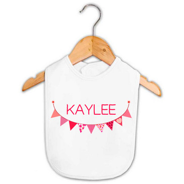 Personalised Pink Bunting Baby Name Bib