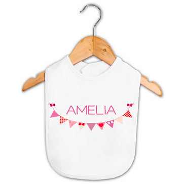 Personalised Purple Bunting Baby Name Bib