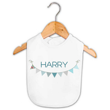 Personalised Boy's Baby Bib Blue Bunting