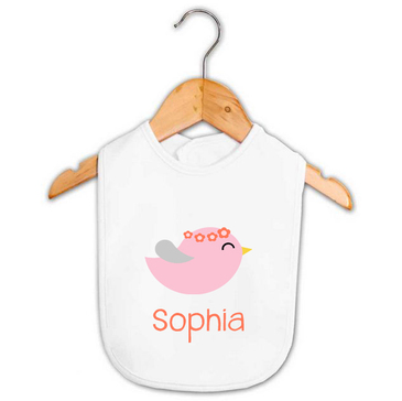 Personalised Girl's Pink & Coral Bird Bib