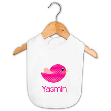 Personalised Girl's Pink Bird Bib