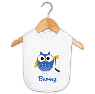 Personalised Boy's Hockey Owl Baby Bib