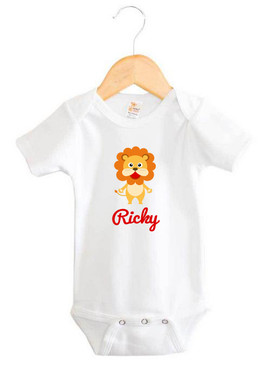 Personalised Baby Name Lion Baby Onesie