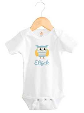 Personalised Boy's Name Blue Striped Owl Onesie