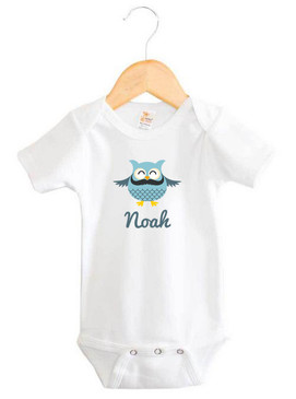 Personalised Boy's Blue Moustache Owl Baby Onesie
